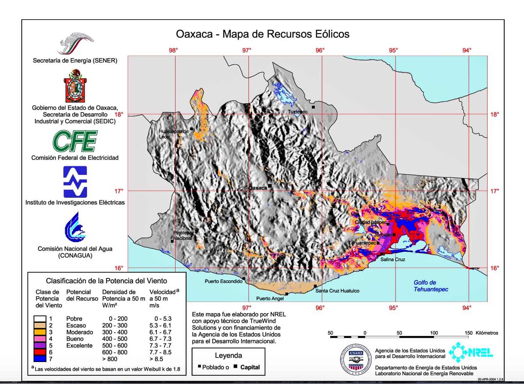 Mapa dos recursos eólicos no México. Grande potencial está no Istmo Tehuantepec
