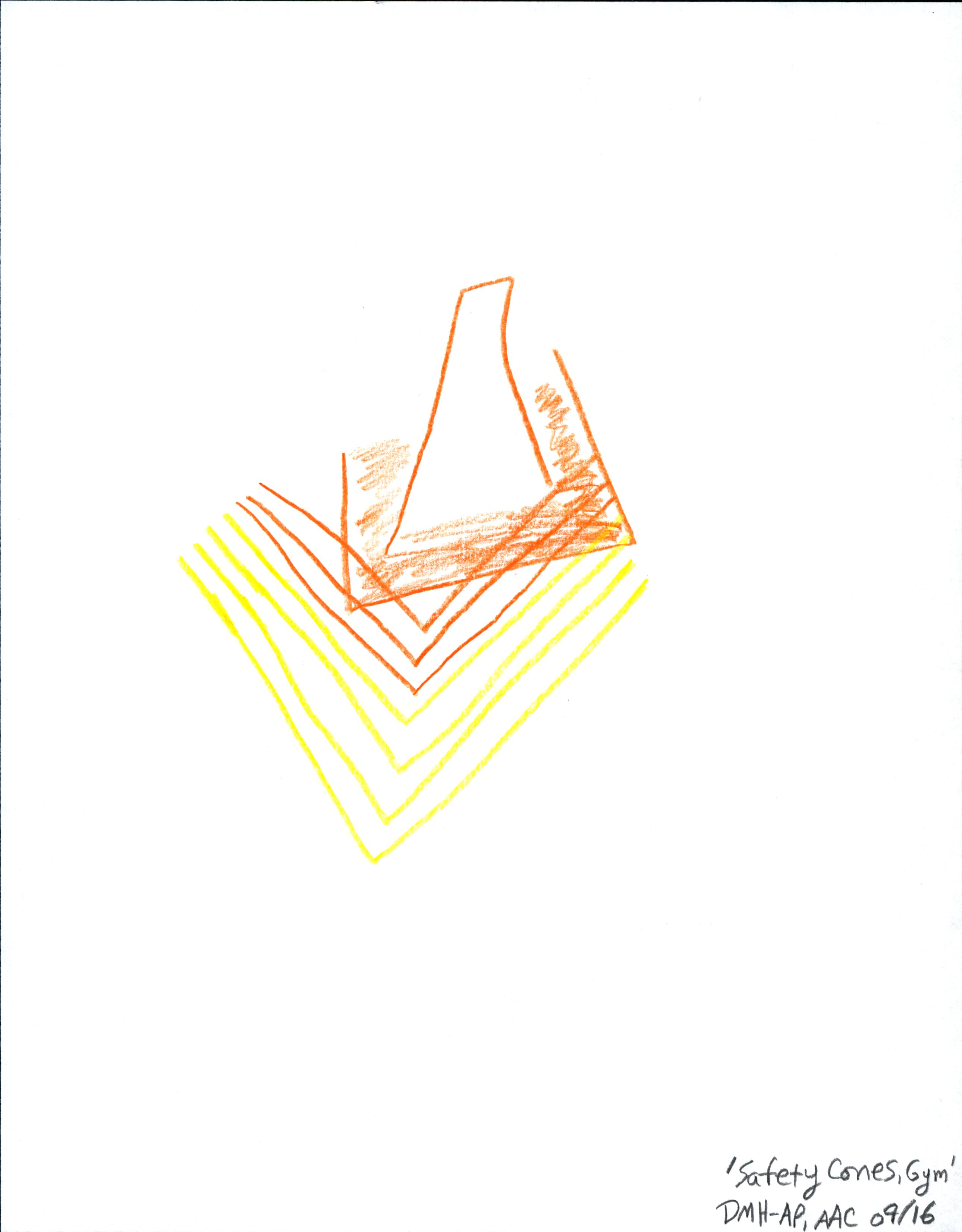 Safety Cone, Gym — 8 1/2″ X 11″, colored pencil/crayon on printer paper
