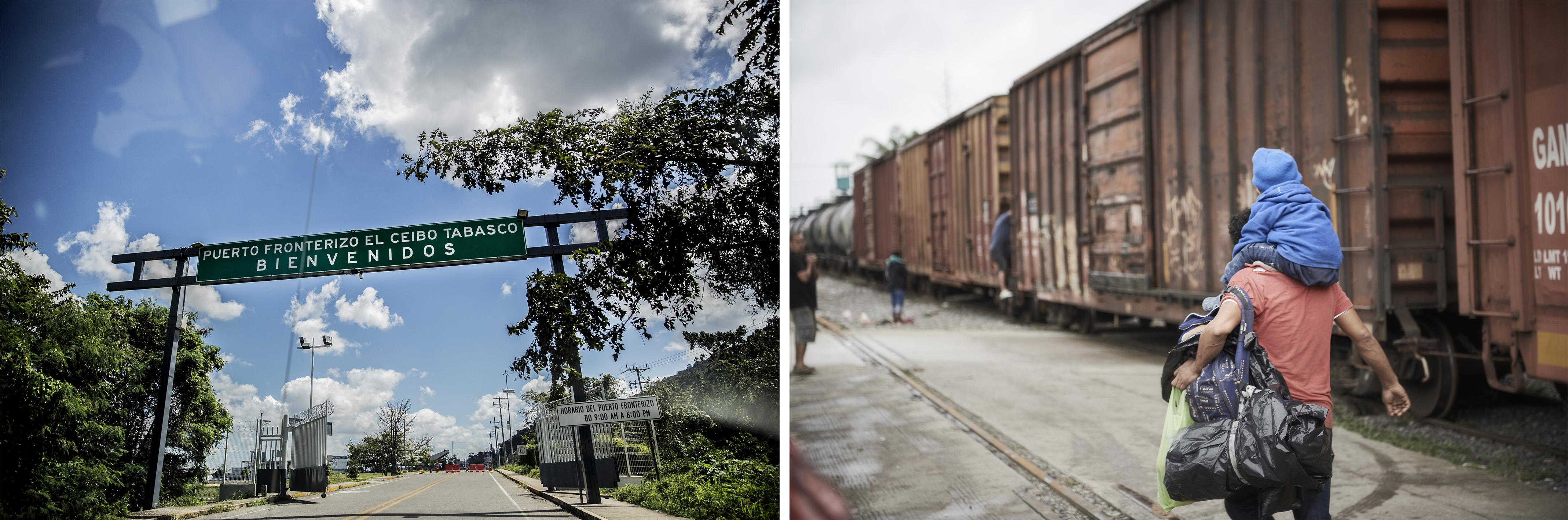 (gauche) Le poste frontière d'El Ceibo, entre le Guatemala et le Mexique. Juan Carlos Tomasi/MSF (droite) Un homme porte son enfant sur les épaules tandis qu'il cherche à monter dans un train.Christina Simons/MSF