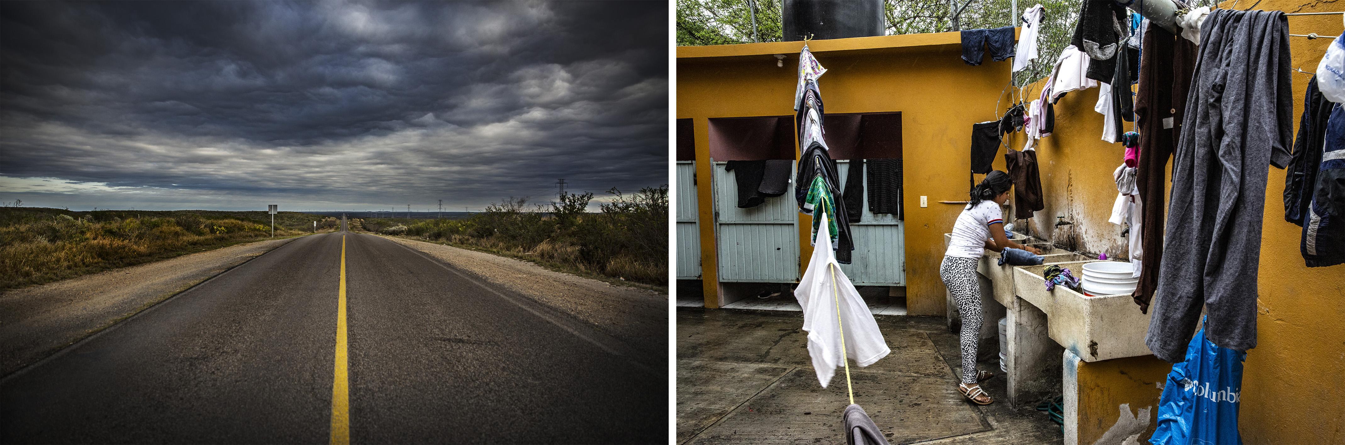 (gauche)Route de Piedras Negras à Nuevo Laredo. De là, de nombreux migrants tentent de franchir la frontière avec les États-Unis. (droite) Une femme lave son linge dans un refuge pour migrants au Mexique. Juan Carlos Tomasi/MSF