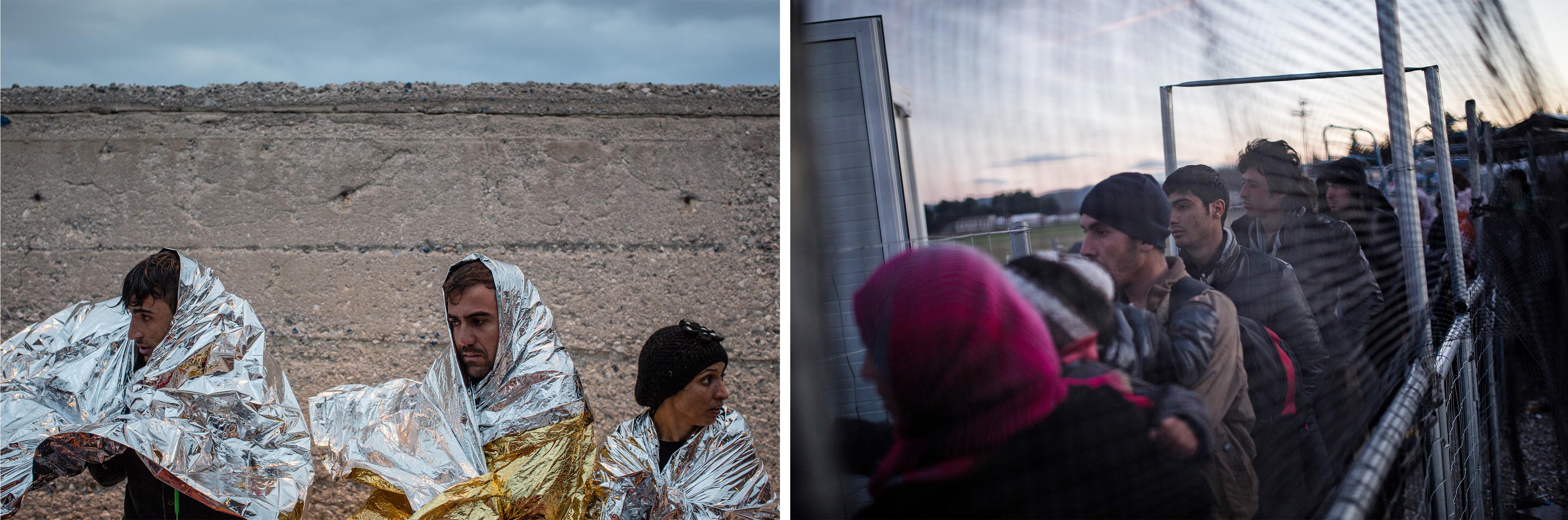 (gauche)Des personnes viennent d'être secourues au large de l'île de Lesbos, décembre 2015. (droite)Des demandeurs d'asile arrivent au camp de transit d'Idomeni, janvier 2016. ©Will Rose,Konstantinos Tsakalidis/SOOC