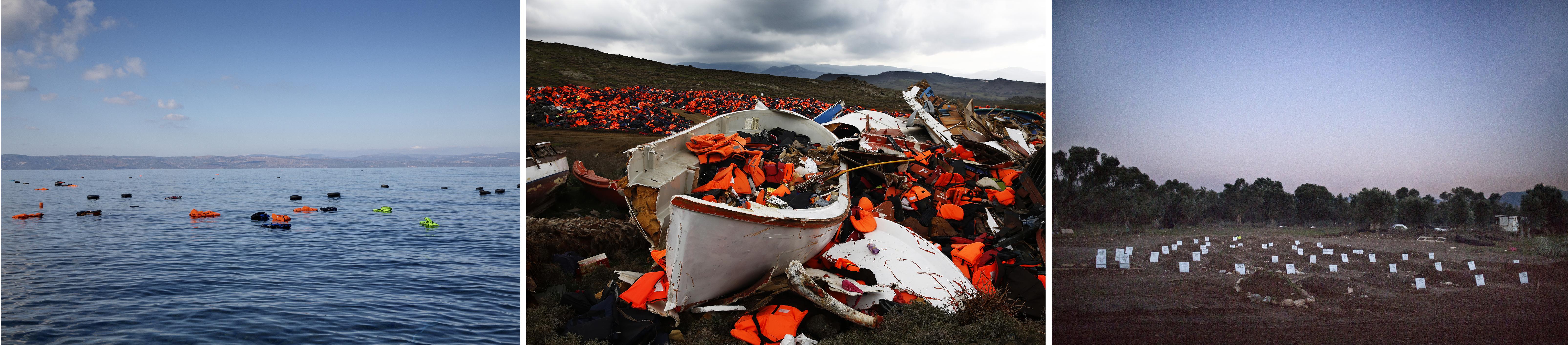 (haut)Une embarcation surchargée commence à prendre l'eau, près des côtes de l'île de Lesbos, janvier 2016.(gauche)Des gilets de sauvetages restés en mer, juillet 2016. (centre)Les plages de Lesbos sont recouvertes de milliers de gilets de sauvetage, février 2016. (droite)Un nouveau cimetière pour les réfugiés et les migrants qui ont perdu la vie en tentant d'atteindre l'Europe, Lesbos, janvier 2016. © Giorgos Moutafis/MSF/Greenpeace,Anna Surinyach/MSF,Giorgos Moutafis,Alessandro Penso/MSF/Greenpeace