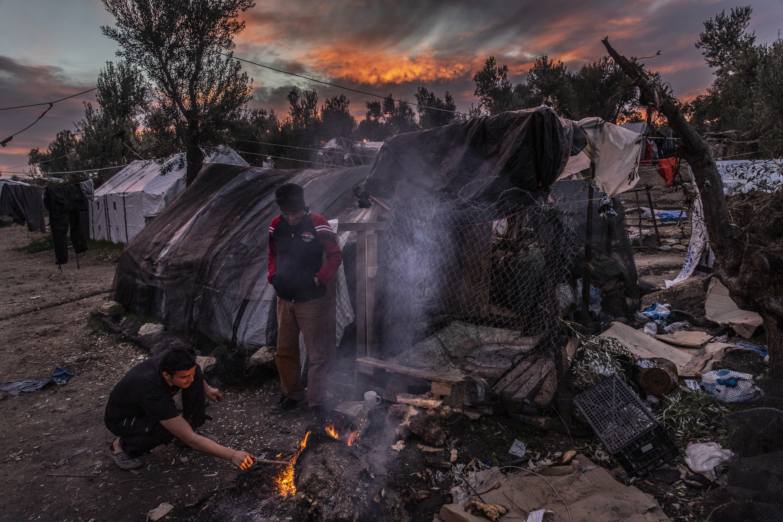 À « Olive Grove », l'extension du camp de Moria, où 750 personnes (début 2019) vivent dans des tentes et des abris de fortune, février 2019. ©Anna Pantelia/MSF