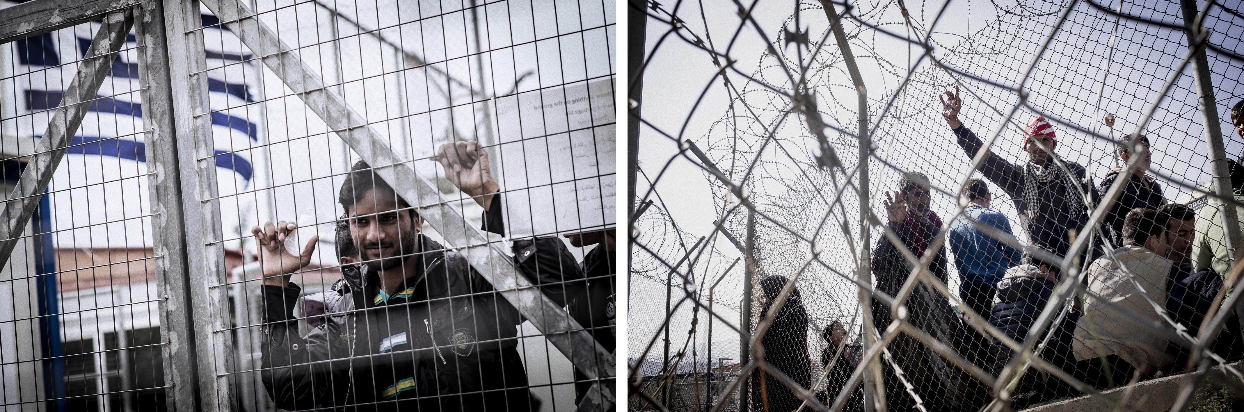 Depuis l'accord entre l'UE et la Turquie, la Grèce a transformé les camps de réfugiés en camps de détention, mars 2016. ©Guillaume Binet/MYOP