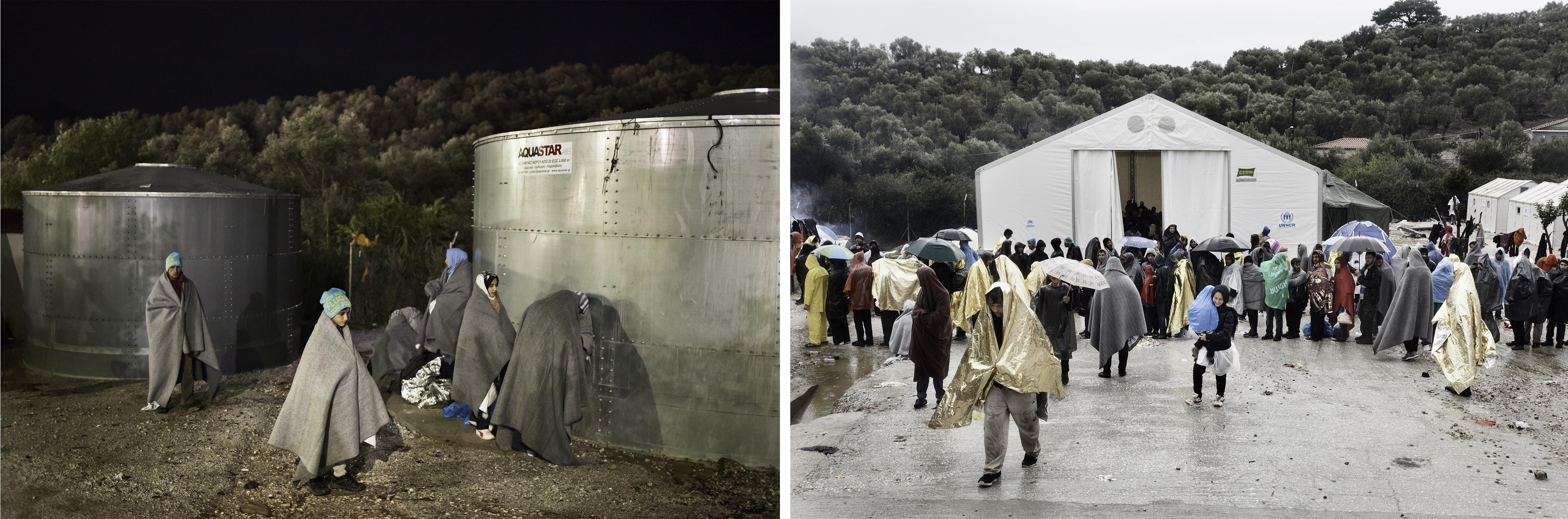(gauche) Une famille afghane attend sonenregistrement, camp de Moria, octobre 2015. (droite) Des réfugiés font la queue pour se faire enregistrer, camp de Moria, octobre 2015. © Alessandro Penso/MAPS