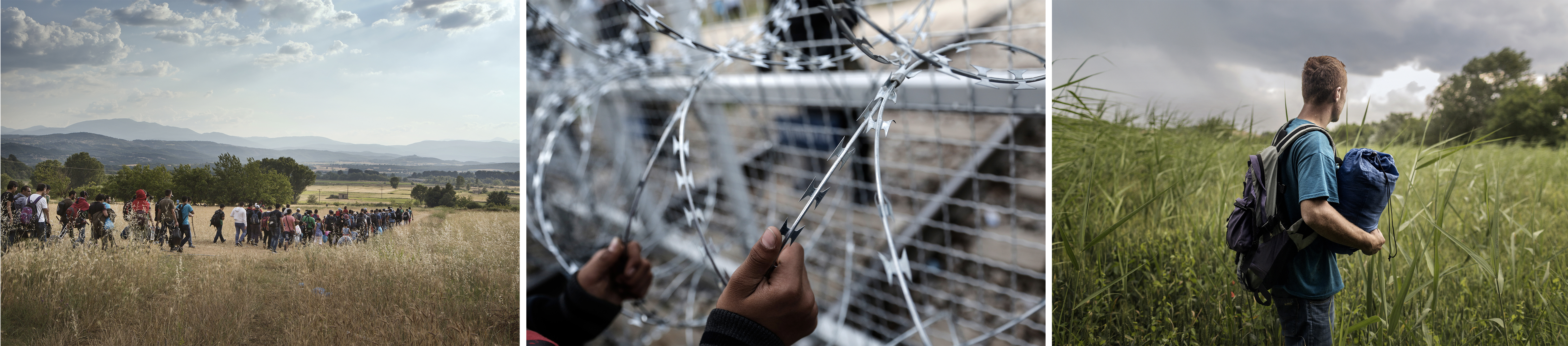 (gauche) Un groupe d'environ 150 Syriens se rapproche de la frontière entre la Grèce et la Macédoine, de plus en plus dangereuse, dans l'espoir de rejoindre l'Allemagne ou la Suède, juin 2015. (centre)Un enfant afghan tient la clôture de barbelés lors d'une manifestation à la frontière gréco-macédonienne, près du village grec d'Idomeni, février 2016. (droite) Ayoub, un Afghan de 18 ans, a dû fuir l'Afghanistan seul car toute sa famille a été tuée, juin 2015.©Alessandro Penso/MAPS,Konstantinos Tsakalidis/SOOC