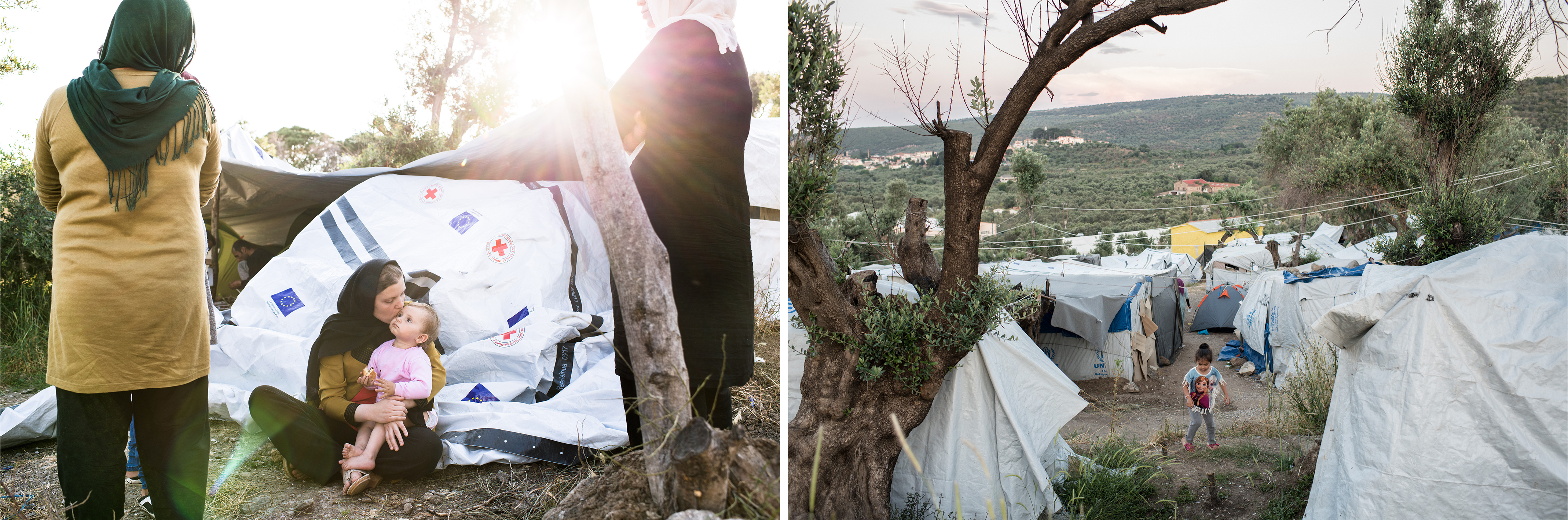 (gauche)Une famille afghane arrivée depuis peu à « Olive Grove », l'extension du camp de Moria, mai 2018.(droite)Une enfant dans « Olive Grove », mai 2018. ©Robin Hammond/Witness Change