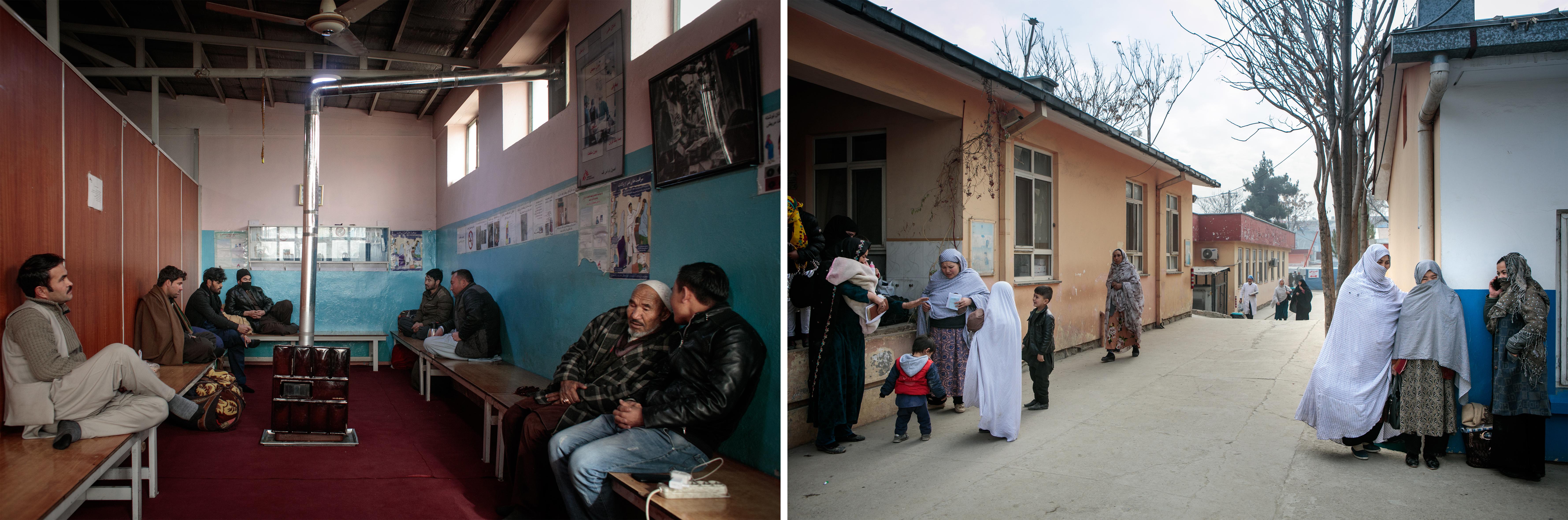 Gauche : salle d'attente réservée aux hommes. Droite :allées de l'hôpital dans lequel la maternité MSF est installée.