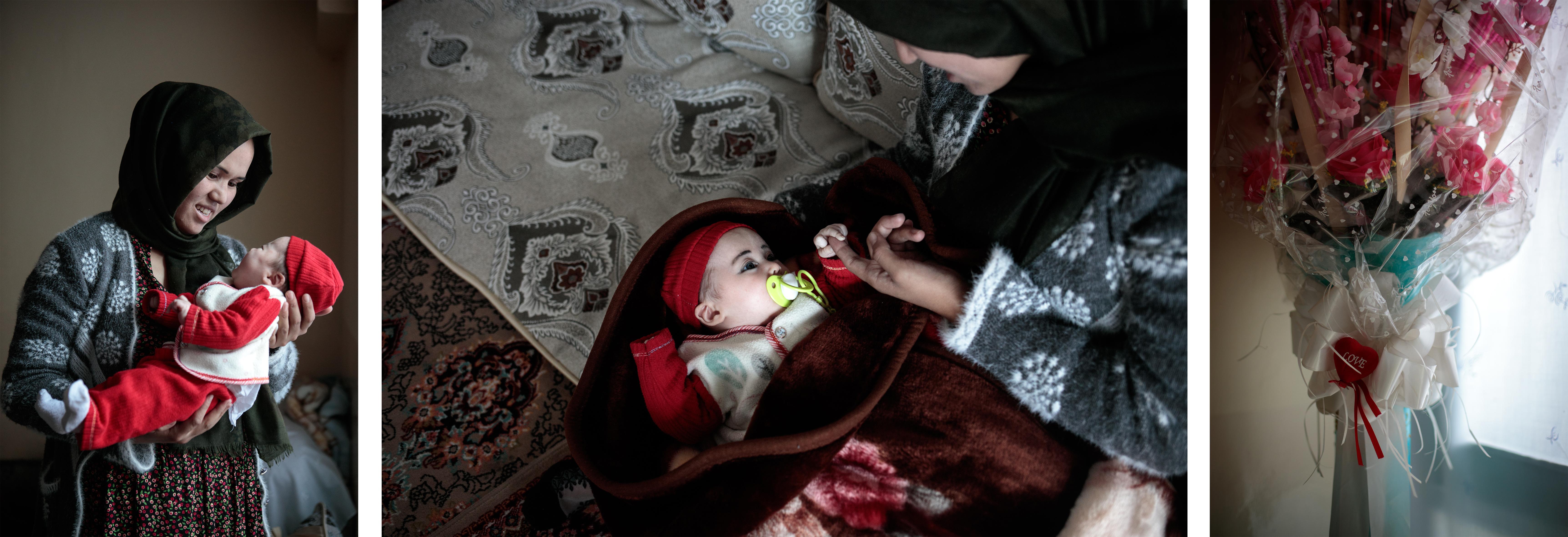 Hosnia et sa fille Illina. Shafika, la belle-mère d'Hosnia, a accouché de tous ses enfants à domicile. Il n'y avait pas d'hôpital à proximité dans leur district, ni même de sage-femme. Ce sont les femmes du village qui l'ont aidé à accoucher.