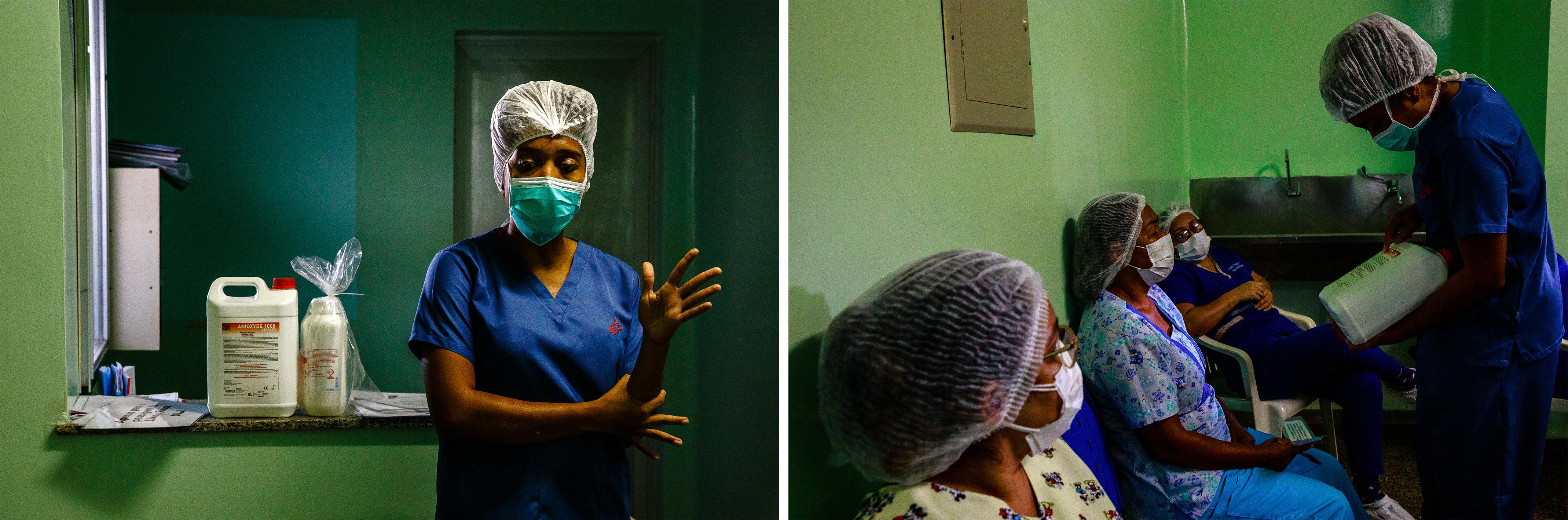 Rebecca Alethéia, infirmière MSF, dispense une formation sur le bon usage des équipements de protection individuelle et sur les procédures de désinfection du matériel, au personnel de l'hôpital régional de Tefé, État d'Amazonas, Brésil, juillet 2020. © Diego Baravelli/MSF