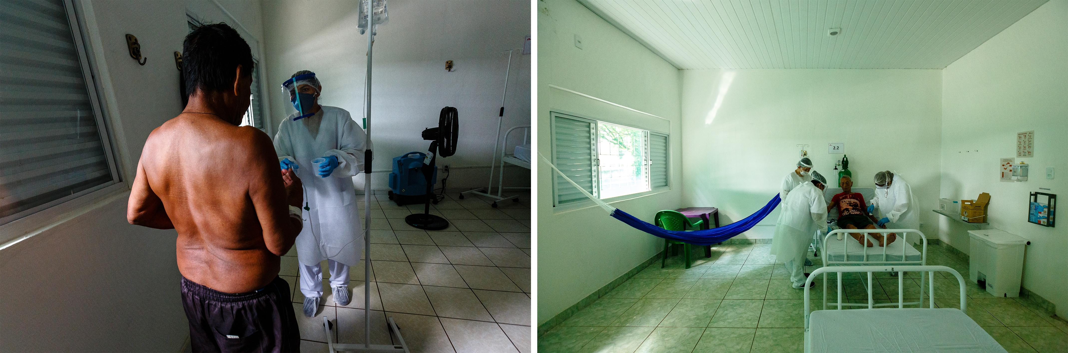 (haut) La Dr. Fernanda Abrantes s'entretient avec la famille d'un patient lors d'un dépistage Covid-19 au centre de soins mis en place par MSF dans la ville amazonienne de São Gabriel da Cachoeira, État d'Amazonas, Brésil, juillet 2020. (gauche)Un patient atteint de symptôme de la Covid-19 est testé pour la tuberculose dans le centre de soins mis en place par MSF à São Gabriel da Cachoeira, État d'Amazonas, Brésil, juillet 2020. (droite) Antonio Castro, 99 ans, est pris en charge au centre de soins mis en place par MSF à São Gabriel da Cachoeira, État d'Amazonas, Brésil, juillet 2020.© Diego Baravelli/MSF