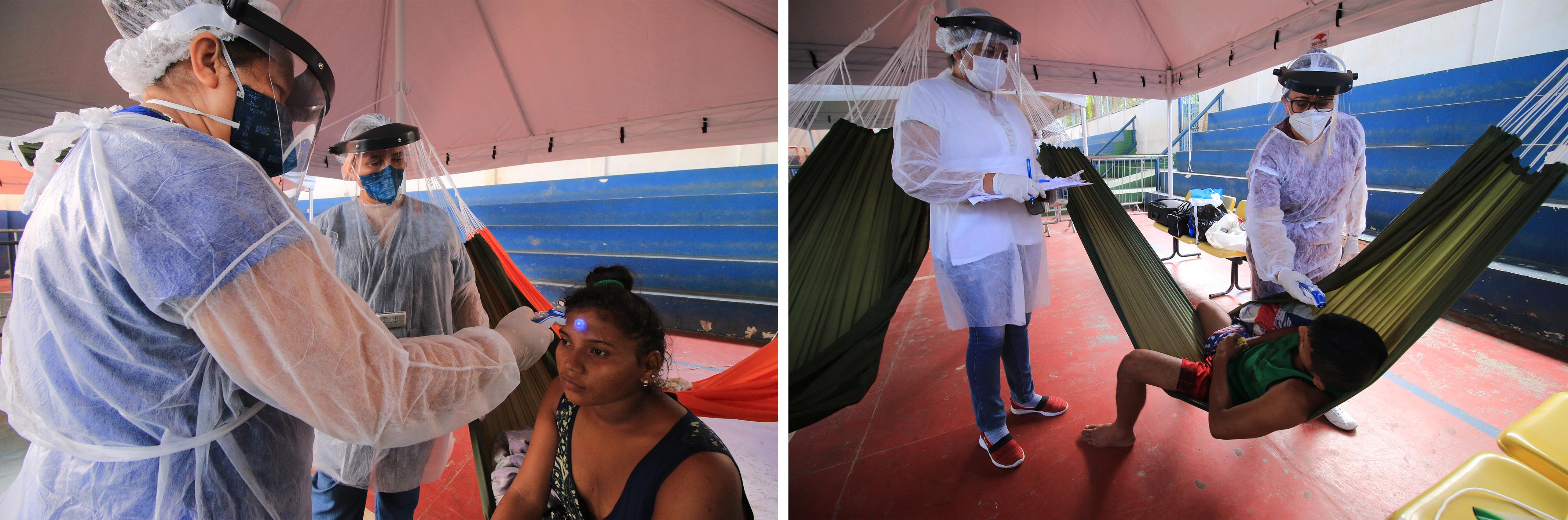 Des personnes de la communauté Warao présentant des symptômes de la Covid-19 se font prendre la température au centre d'isolement mis en place par MSF à Manaus, État d'Amazonas, Brésil, juin 2020. © Euzivaldo Queiroz/MSF
