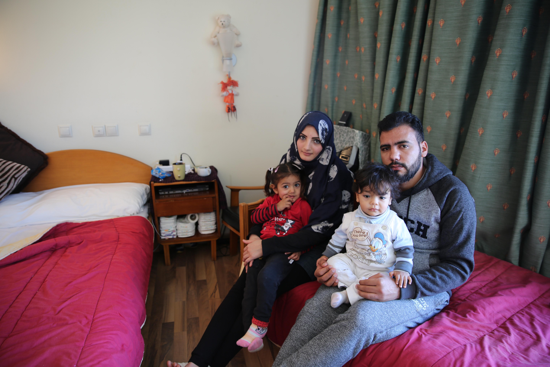 Rawan, Moamar et leur deux enfants, Fadia (trois ans) et Ahmed (un an).
